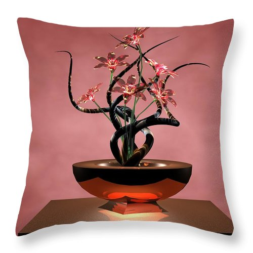 Flowers Throw Pillow featuring the digital art Twisted Black by Louis Ferreira
