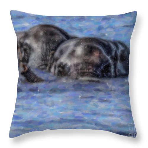 African Elephant Throw Pillow featuring the digital art Two African Elephants Swimming In The Chobe River by Liz Leyden