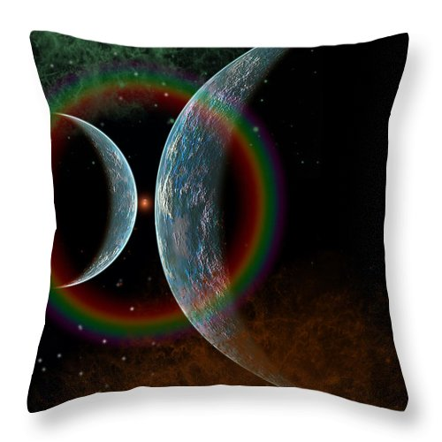Vertical Throw Pillow featuring the digital art Two Alien Planets In A Distant Part by Mark Stevenson