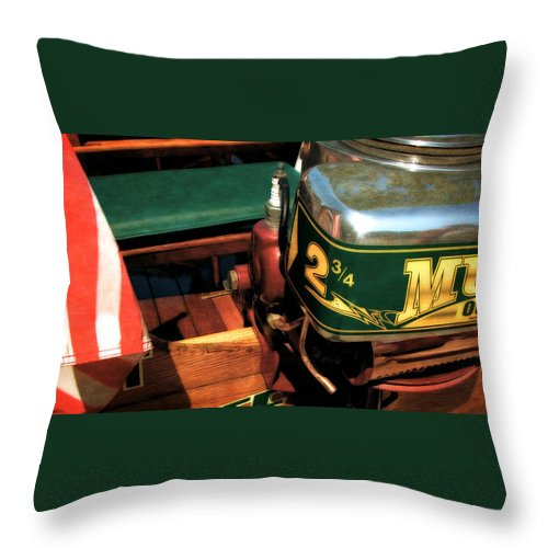 Muncie Gear Company Throw Pillow featuring the photograph Two And Three Quarters Hp Muncie Outboard Motor by Michelle Calkins