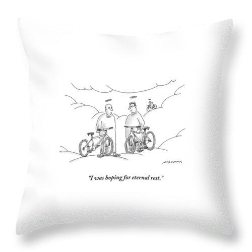 Angels Throw Pillow featuring the drawing Two Angels With Bicycles Converse. Another Angel by Mick Stevens