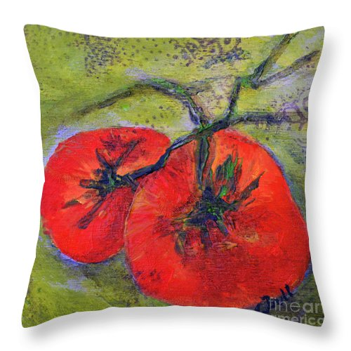 Tomatoes Throw Pillow featuring the painting Two Beauties by Claire Bull