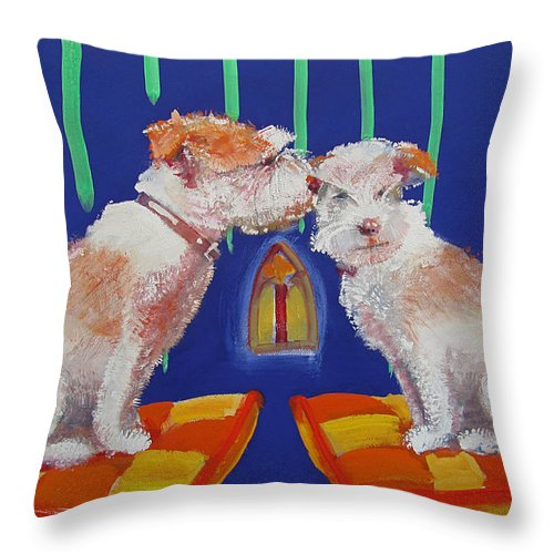 Puppy Throw Pillow featuring the painting Two Border Terriers Together by Charles Stuart