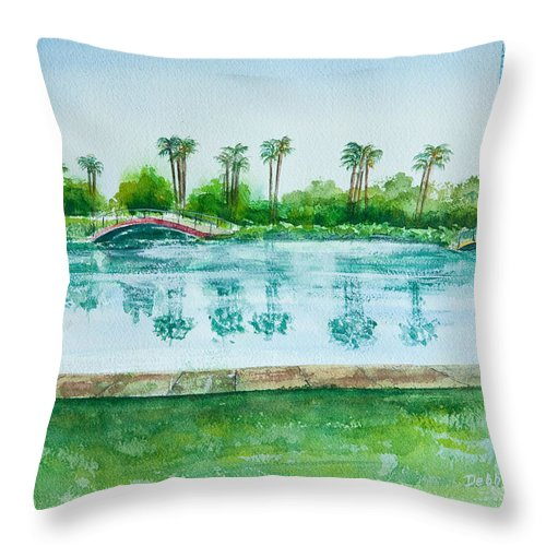 Watercolor Throw Pillow featuring the painting Two Bridges At Rainbow Lagoon by Debbie Lewis