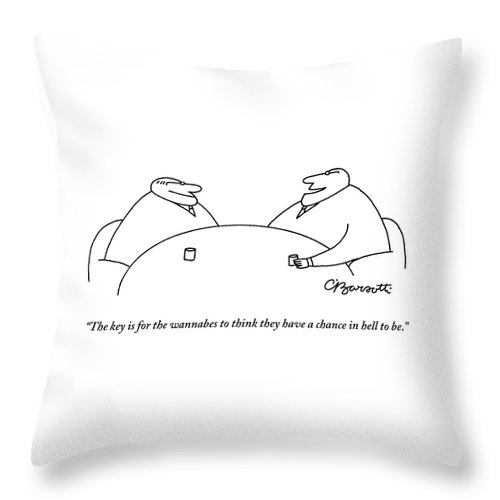 Executives Throw Pillow featuring the drawing Two Businessmen Speak To Each Other by Charles Barsotti