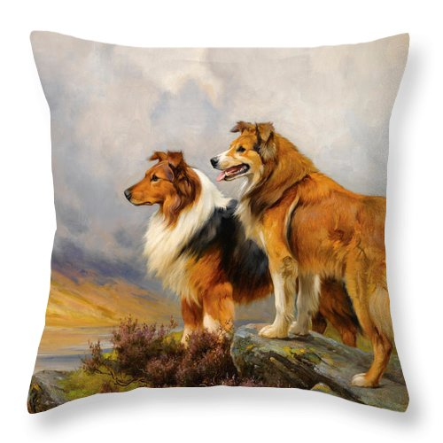 Wright Barker Throw Pillow featuring the painting Two Collies Above A Lake by Wright Barker