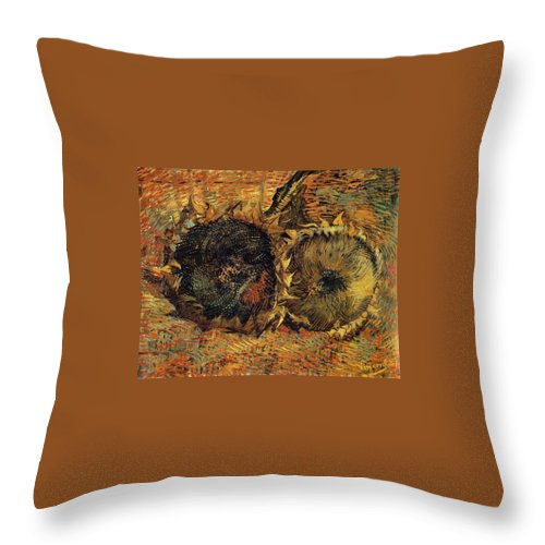 1887 Throw Pillow featuring the painting Two Cutted Sunflowers by Vincent van Gogh