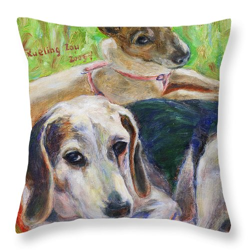 Dog Throw Pillow featuring the painting Two Dogs by Xueling Zou