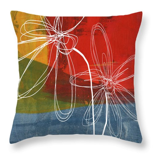 Abstract Throw Pillow featuring the painting Two Flowers by Linda Woods