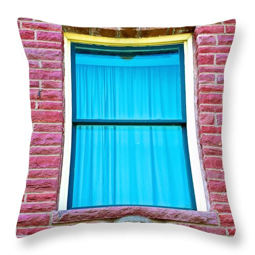 Two Gargoyle-like Figures Above And Below Window Of Moore Block In Pipestone Throw Pillow featuring the photograph Two Gargoyle-like Figures Above And Below Window Of Moore Block In Pipestone-minnesota by Ruth Hager