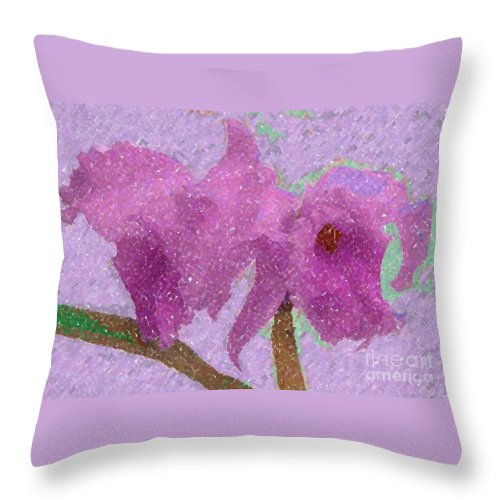 Orchids Throw Pillow featuring the photograph Two Hothouse Beauties by Barbie Corbett-Newmin