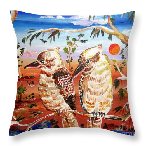 Kookaburras Throw Pillow featuring the painting Two Laughing Kookaburras In The Outback Australia by Roberto Gagliardi