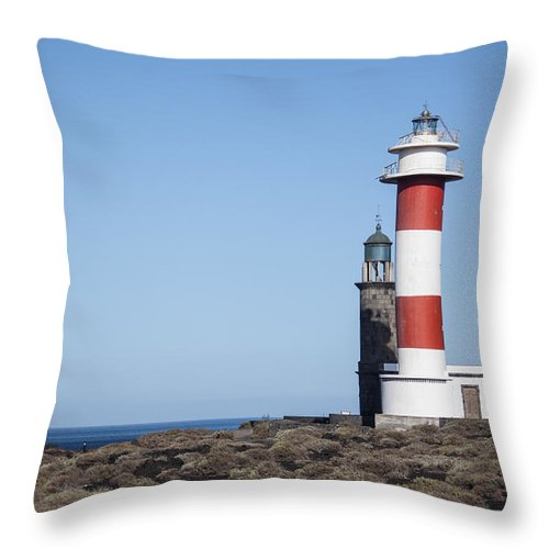 La Palma Throw Pillow featuring the photograph Two Light Houses by Ralf Kaiser