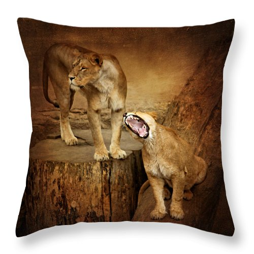 King Of Beasts Throw Pillow featuring the mixed media Two Lions by Heike Hultsch