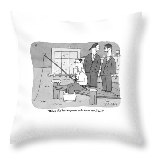 Two Men From The Mafia Stand Over A Dock Throw Pillow