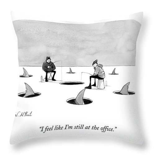 Cctk Ice Fishing Throw Pillow featuring the drawing Two Men Ice Fishing by Will McPhail