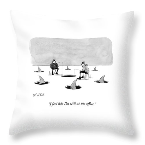 Two Men Ice Fishing Throw Pillow