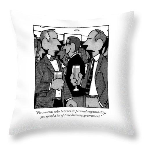 Two Men Speak At A Party Throw Pillow