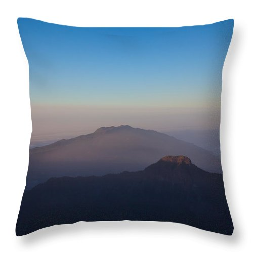 La Palma Throw Pillow featuring the photograph Two Mountains In The Morning by Ralf Kaiser