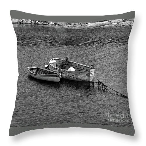 #rowboat #water Throw Pillow featuring the photograph Two Old Rowboats by Kathleen Struckle