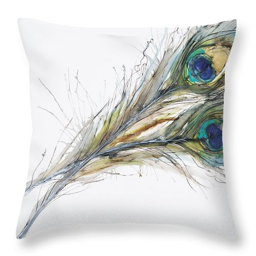 Abstract Throw Pillow featuring the painting Two Peacock Feathers by Tara Thelen