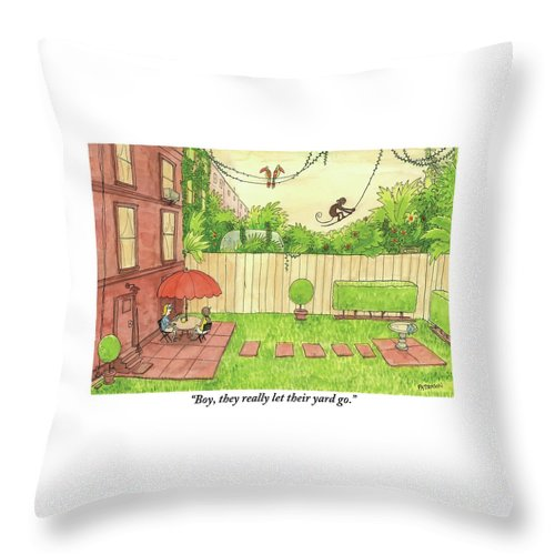 Rain Forests Throw Pillow featuring the drawing Two People Sitting On Their Back Patio by Jason Patterson
