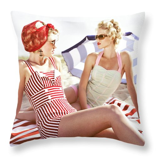 Three Quarter Length Throw Pillow featuring the photograph Two Retro Young Women On Beach by Johner Images