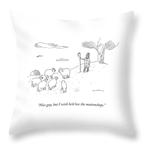 Sheep Throw Pillow featuring the drawing Two Sheep Talk About Their Shephard by Michael Maslin