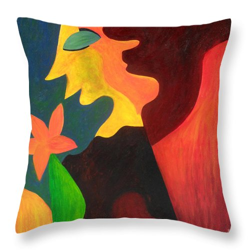 Abstract Throw Pillow featuring the painting Two Sides by Amanda Sheil