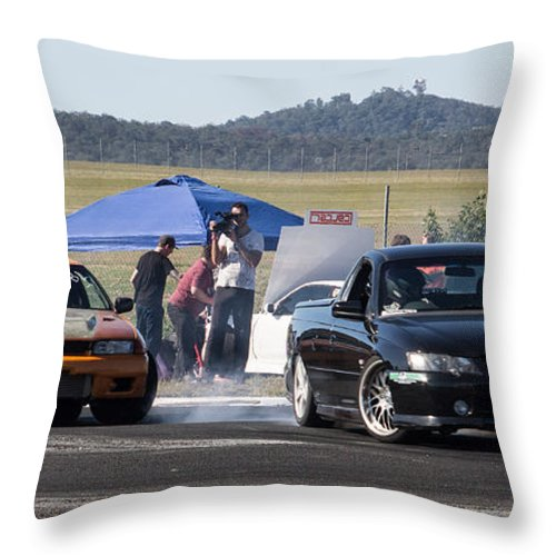 Cars Throw Pillow featuring the photograph Two Sideways Action by Michael Podesta