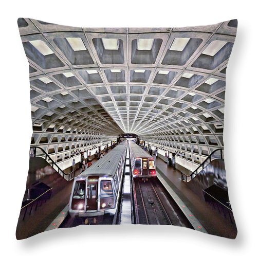 Subway Throw Pillow featuring the photograph Two Subway Trains, Washington Metro by Caroline Purser