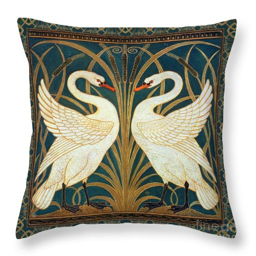 Walter Crane Throw Pillow featuring the painting Two Swans by Walter Crane