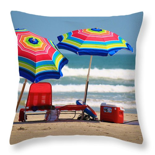 Roena King Throw Pillow featuring the photograph Two Umbrellas On The Beach In Texas by Roena King