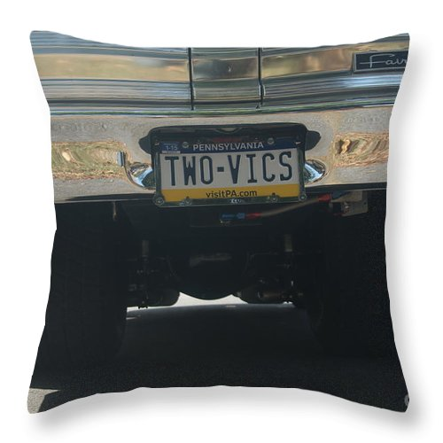 Ford Throw Pillow featuring the photograph Two Vics by Rob Luzier