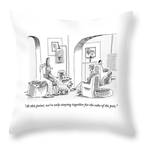 Divorce Throw Pillow featuring the drawing Two Women Are Seen Talking In Reference To A Man by Mick Stevens