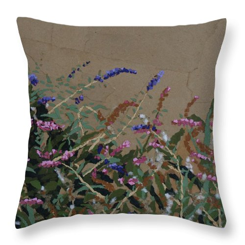 Flowering Butterfly Bush Throw Pillow featuring the painting Tyler by Leah Tomaino