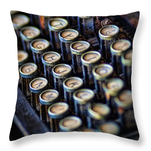 Antique Throw Pillow featuring the photograph Typewriter Keys by David and Carol Kelly