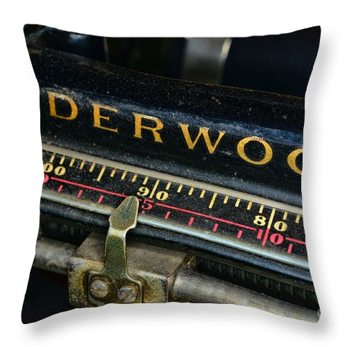 Paul Ward Throw Pillow featuring the photograph Typewriter Paper Guide by Paul Ward