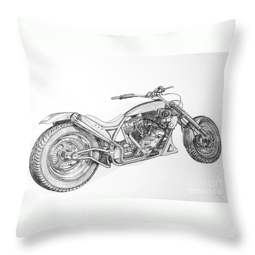 Squeal Dragsters Throw Pillow featuring the drawing Long Mo'sickle by Stephen Brooks