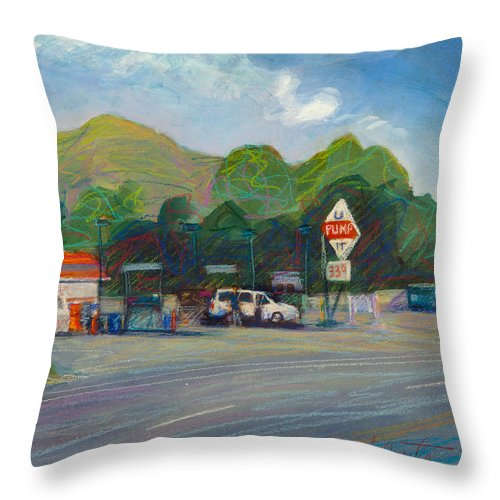 Gas Station Throw Pillow featuring the painting U Pump It by Athena Mantle