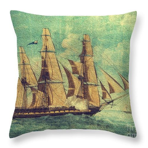 Old Ironsides Throw Pillow featuring the painting U S S Constitution 1803-1804 by Mim White