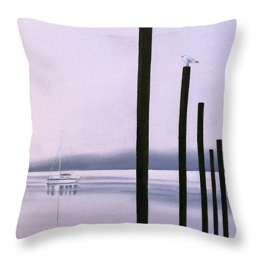 Ocean Throw Pillow featuring the painting Ucluelet In October by Elissa Anthony