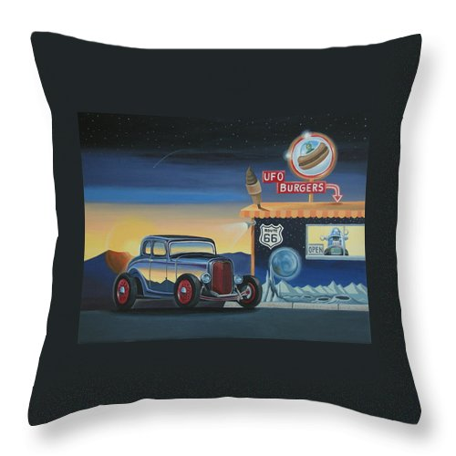 Hot Rod Throw Pillow featuring the painting U.f.o. Burgers by Stuart Swartz