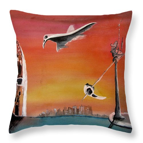 Uglydream Throw Pillow featuring the painting Uglydream911 by Helmut Rottler