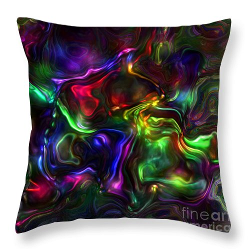 Abstract Throw Pillow featuring the painting Umbilical Souls by RC DeWinter