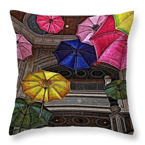 Umbrella Throw Pillow featuring the digital art Umbrella Fun by Joan Minchak