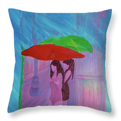 Umbrellas Throw Pillow featuring the painting Umbrella Girls by First Star Art