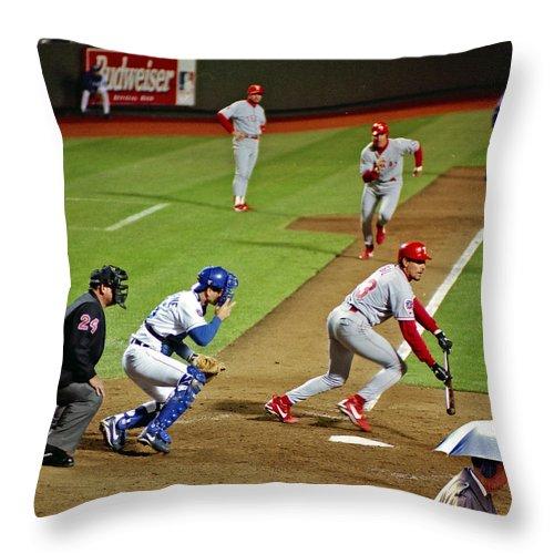 Umbrella Man Throw Pillow featuring the photograph Umbrella Man At Royals Baseball by Christopher McKenzie