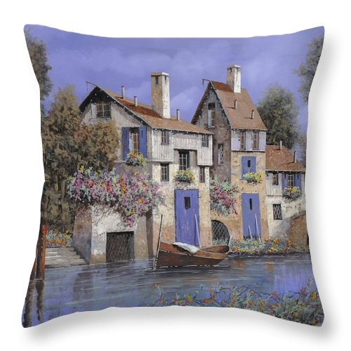 Stream Throw Pillow featuring the painting Un Borgo Tutto Blu by Guido Borelli