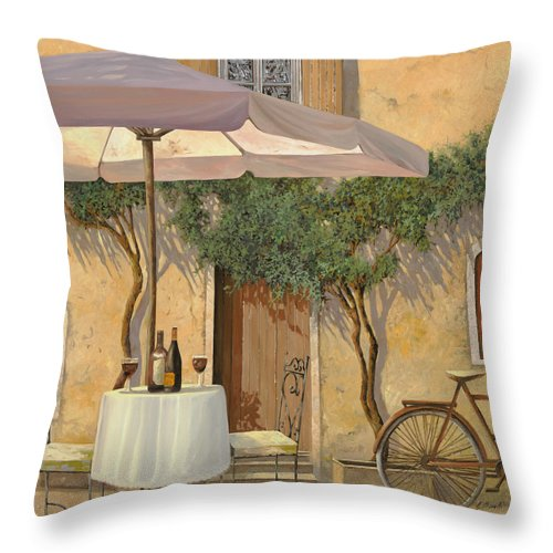 Courtyard Throw Pillow featuring the painting Un Ombra In Cortile by Guido Borelli